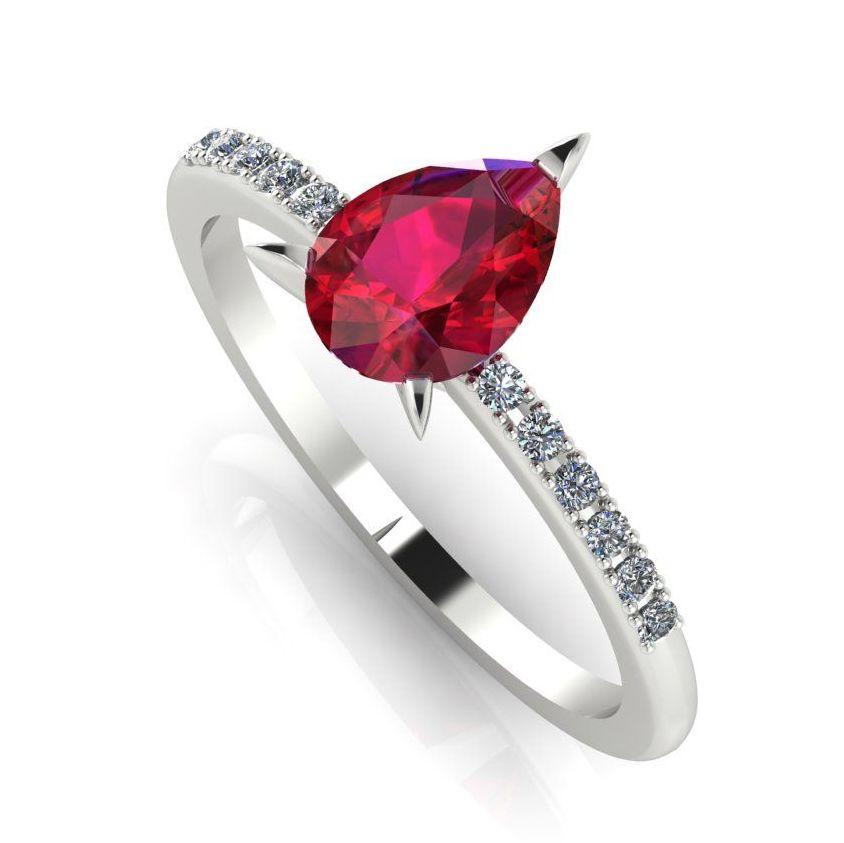 Calista: Ruby & Diamonds - White Gold Gold
