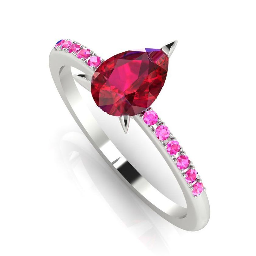 Calista: Ruby & Pink Sapphire's - White Gold Gold