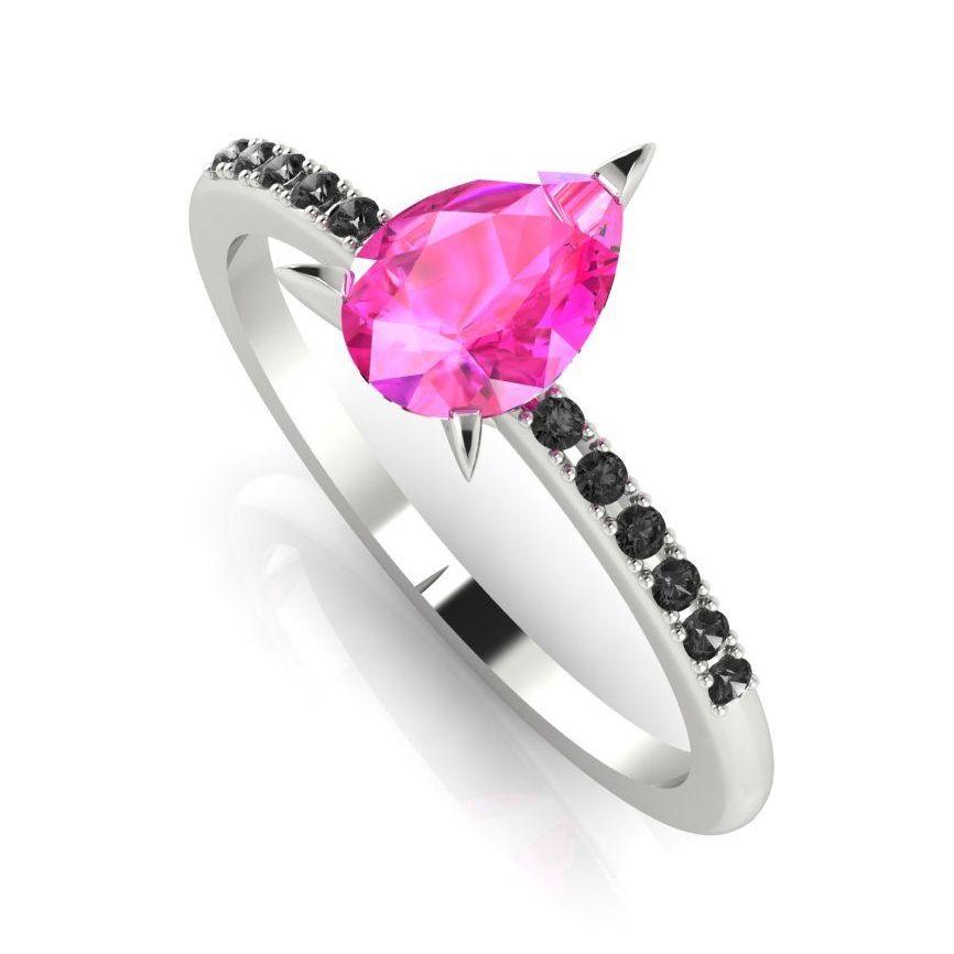 Calista: Pink & Black - White Gold