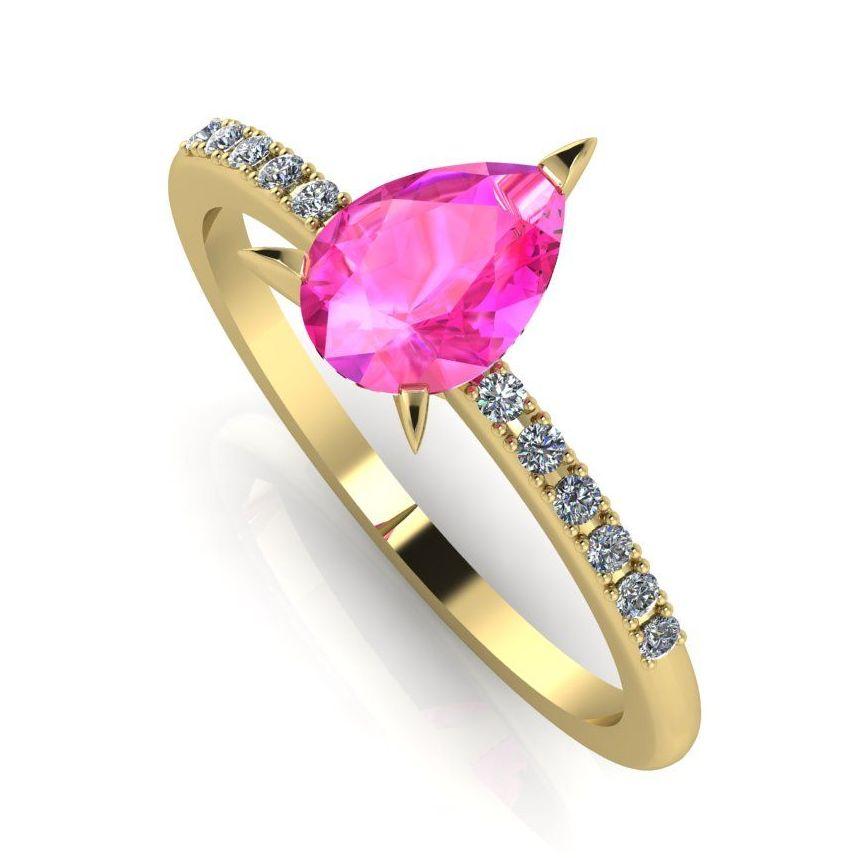 Calista: Pink Sapphire & Diamond - Yellow Gold