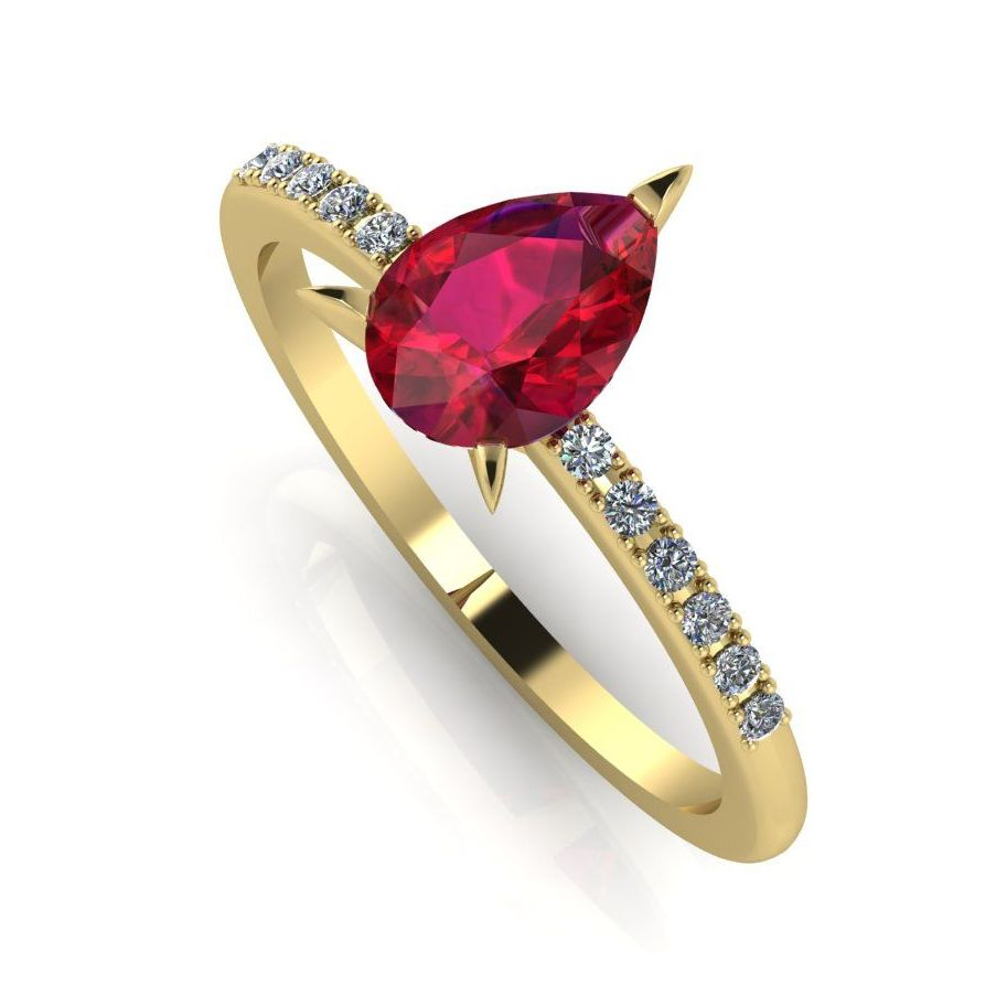Calista: Ruby & Diamond - Yellow Gold