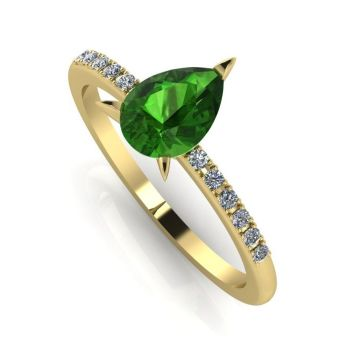 Calista: Green Tourmaline & Diamond - Yellow Gold