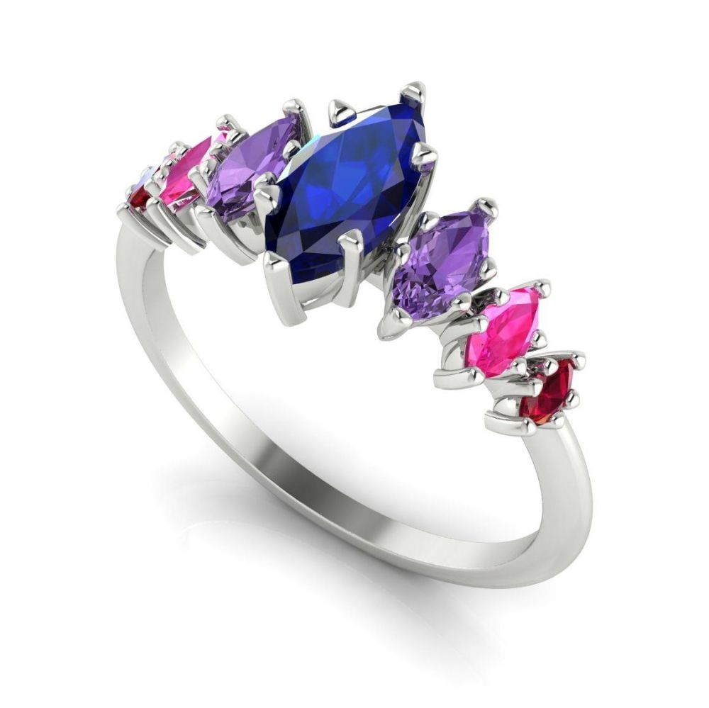 Harlequin - Sapphires , Rubies & White Gold