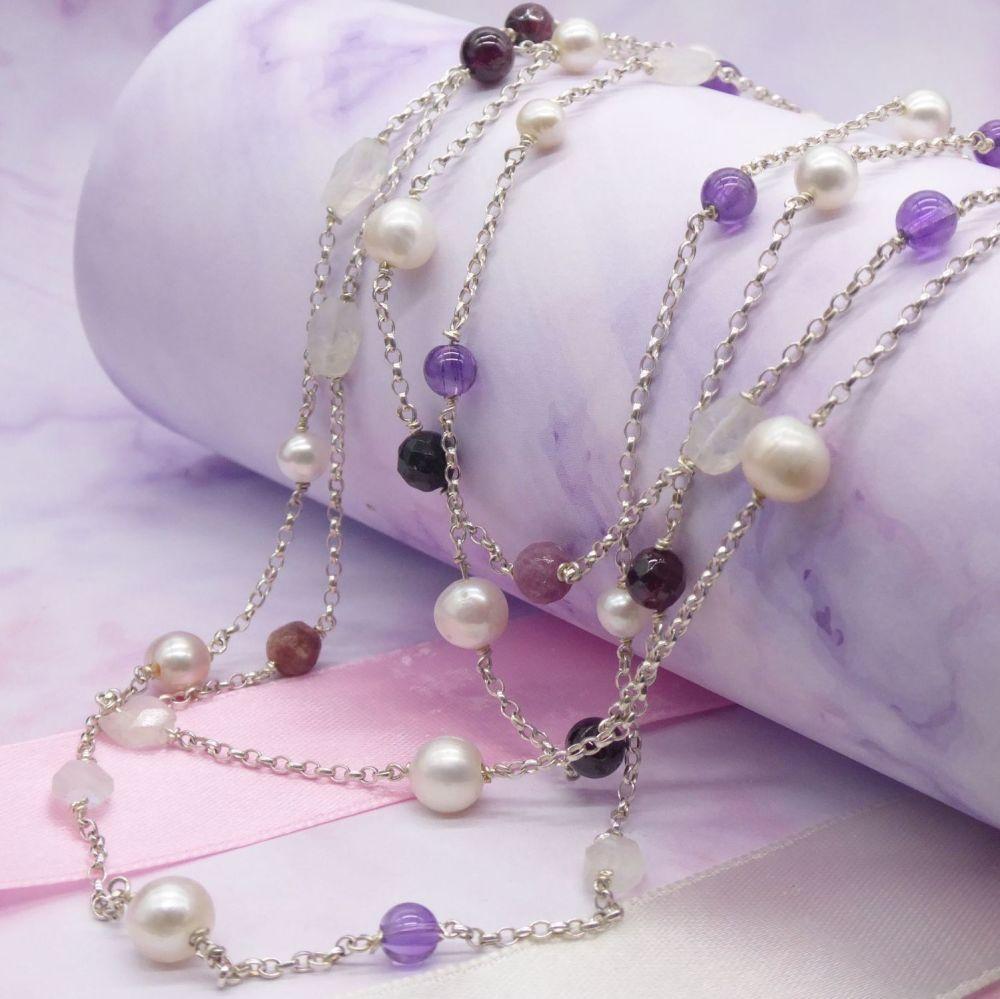 Pastel Rainbow Rocks Gemstone Necklace