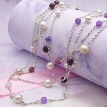 Pastel Rainbow Rocks Gemstone Necklace