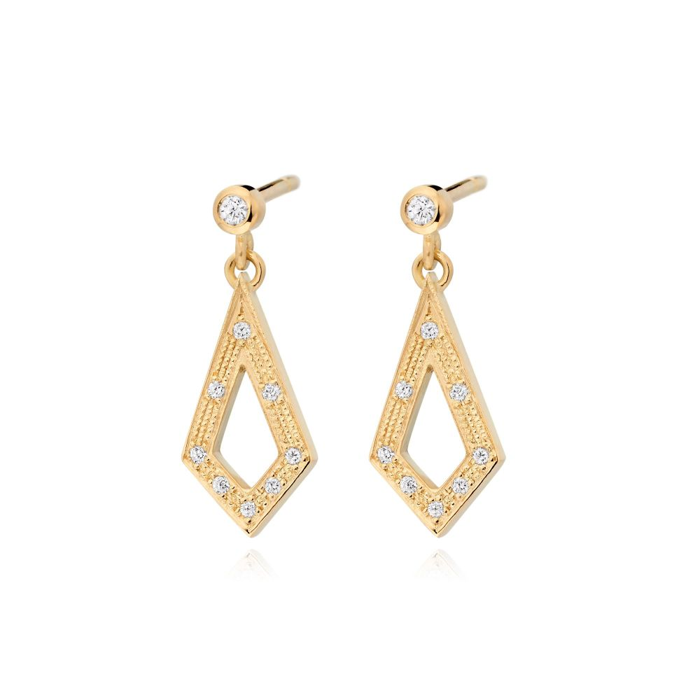 Geo Diamond Drop Earrings