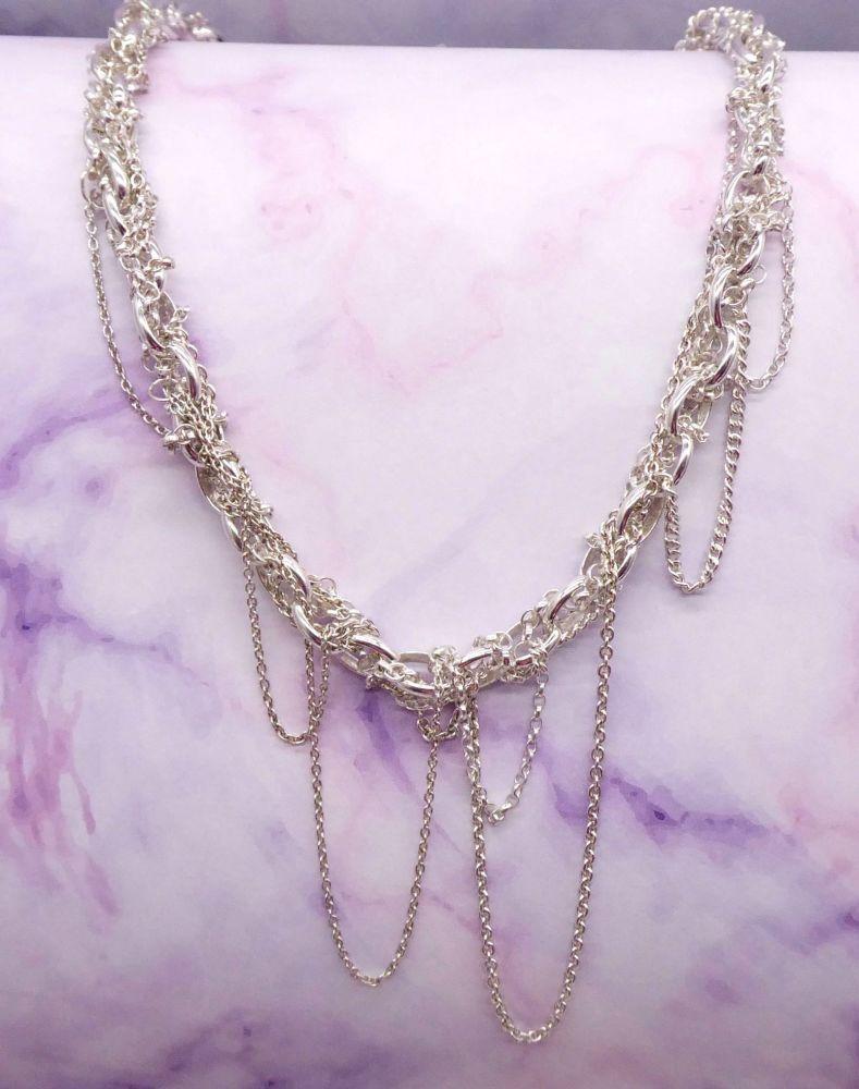 Multi Chain Silver Necklace