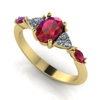 Maisie - Ruby Red - Yellow Gold