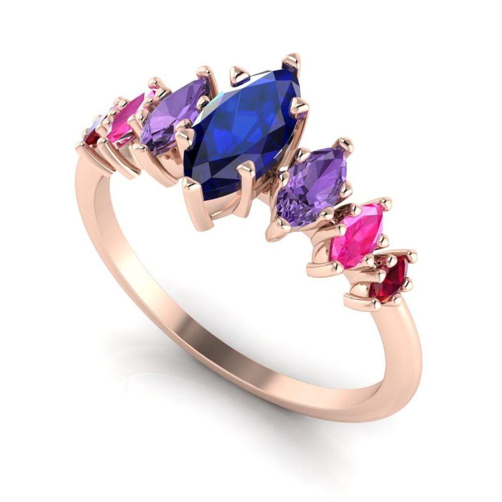 Harlequin - Sapphires , Rubies & Rose Gold