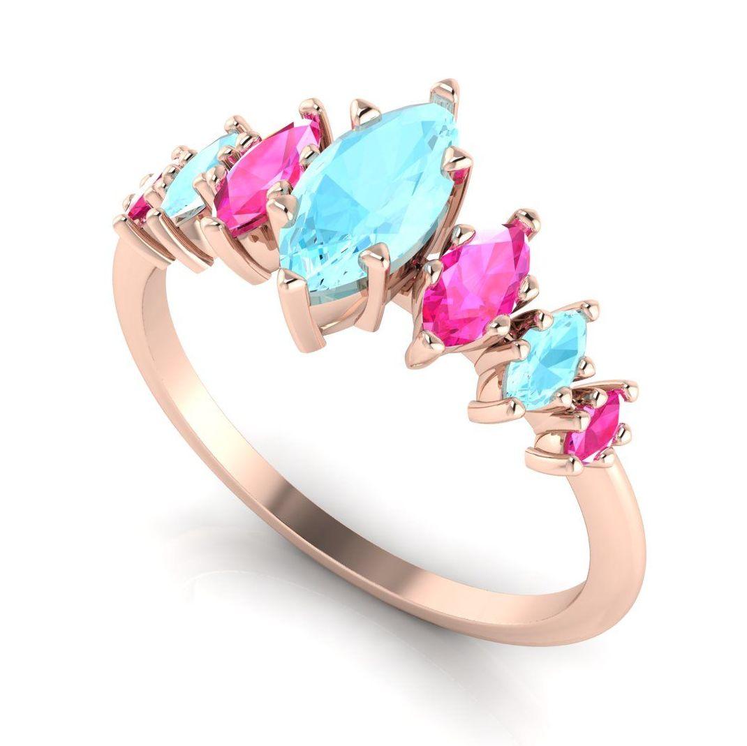 Harlequin - Aquamarine's, Pink Sapphires & Rose Gold