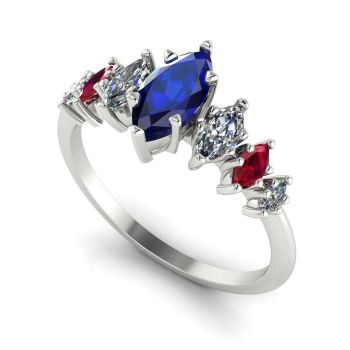 Harlequin - Sapphires , Diamond, Rubies & White Gold