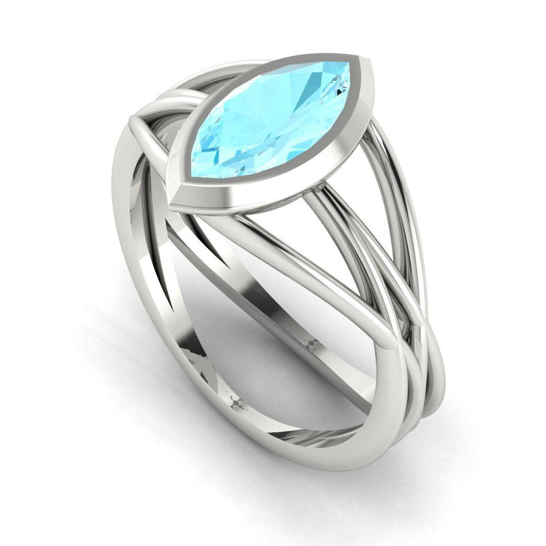 Infinity - Aquamarine - White Gold