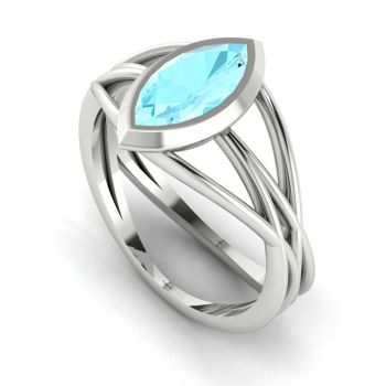 Infinity - Aquamarine - White Gold