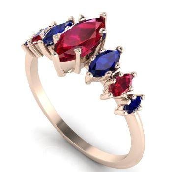 Harlequin - Rubies , Sapphires & Rose Gold
