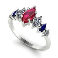 Harlequin - Rubies , Diamonds, Sapphires & White Gold