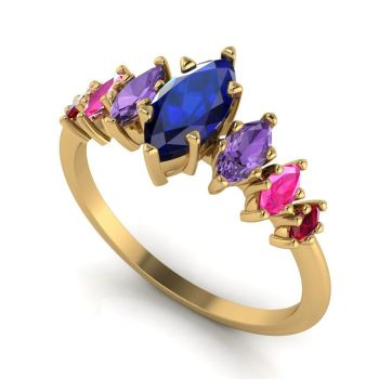 Harlequin - Sapphires, Rubies & Yellow Gold