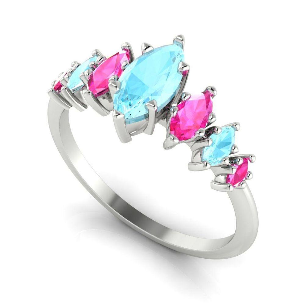 Harlequin - Aquamarine's, Pink Sapphires & White Gold