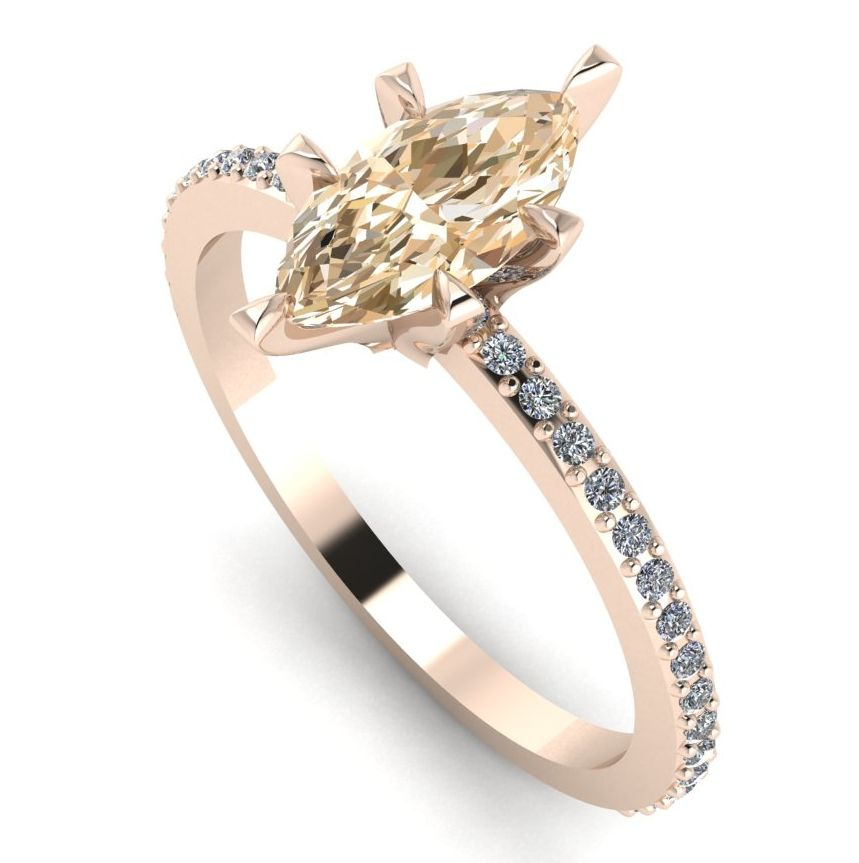 Marquise shaped champagne diamond set in a modern and unusual rose gold and diamond ring