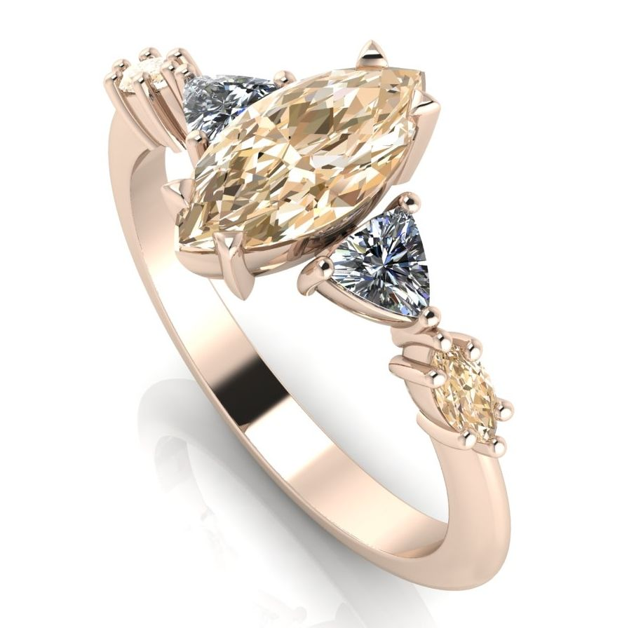 Marquise shaped champagne diamond and white diamond rose gold engagement ring