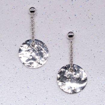 Glitter Ball Silver Earrings (dainty)