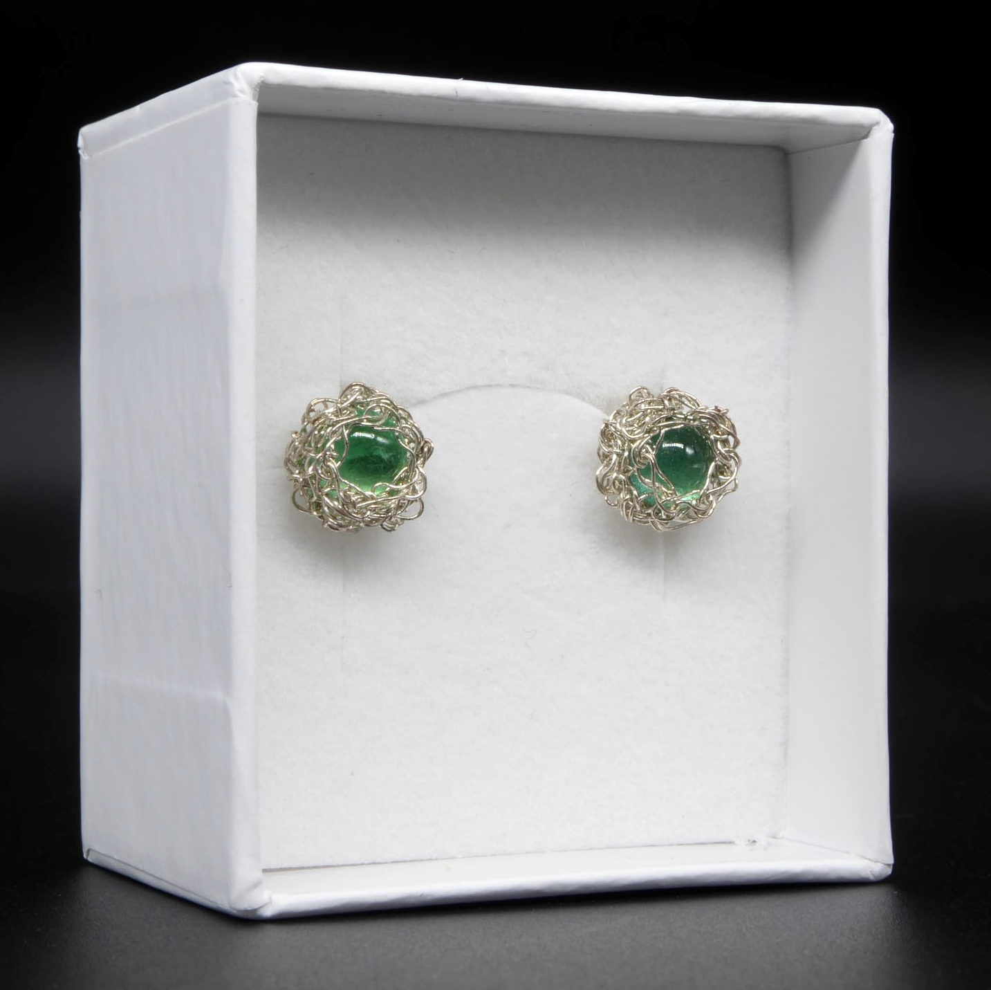Silver unusual emerald earrings