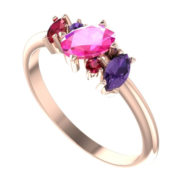 Rose Sunrise - Asymmetrical pinks sapphire, violet sapphire, ruby and rose gold gemstone ring