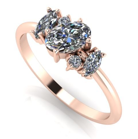 Atlantis Rose Diamond - Asymmetrical diamond and rose gold cluster ring