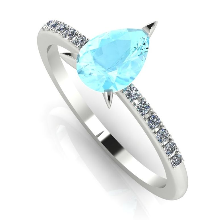 Pear shaped aquamarine and diamond engagement ring