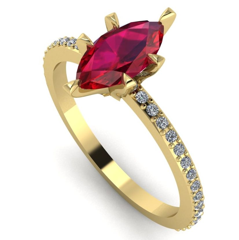 Unusual marquise ruby and diamonds engagement ring
