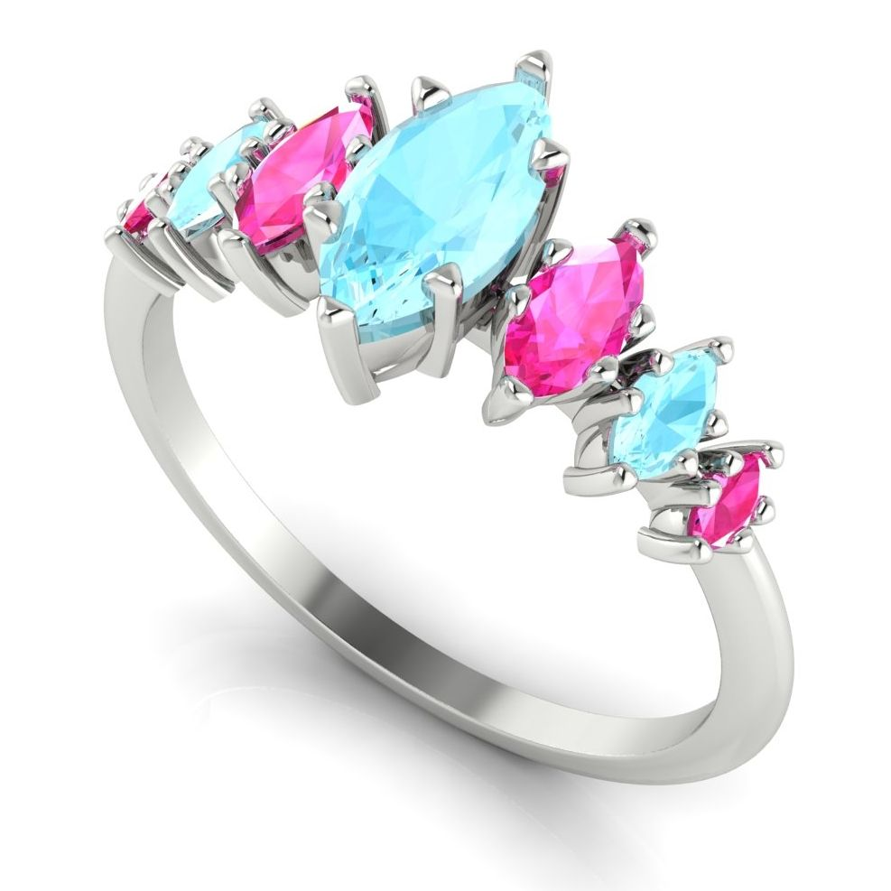 Marquise shaped aquamarine and pink sapphire colour clash quirky engagement ring