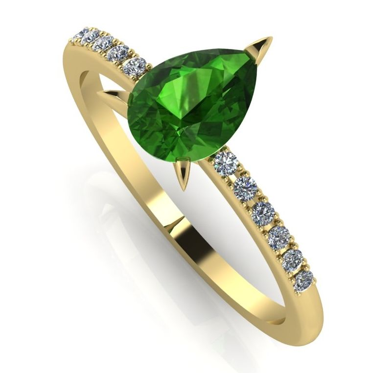 Green pear shaped gemstone set in yellow gold with diamonds engagement ring