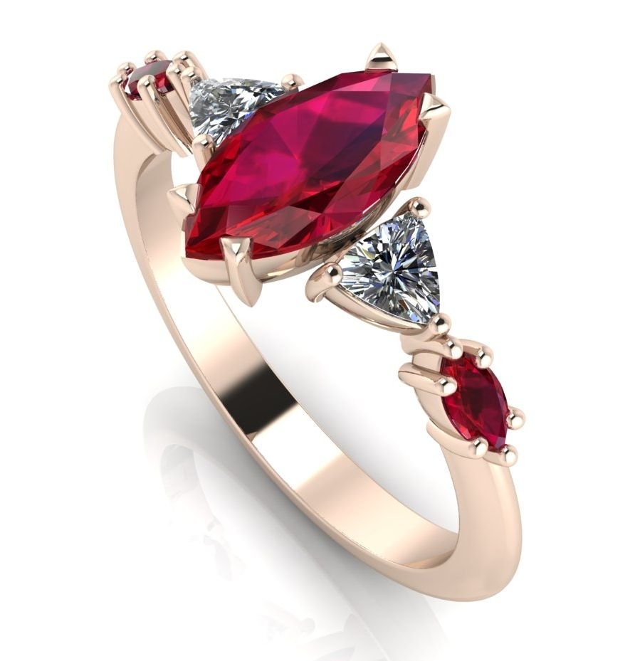 Maisie Marquise Ring - Ruby & Diamonds set in rose gold