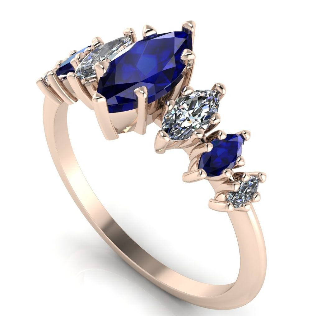 Marquise Sapphires & Diamonds create an unusual and stunning 7 gemstone ros