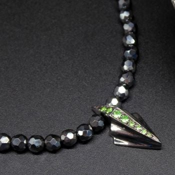 Green and Black Art Deco Tsavorite Gemstone Necklace