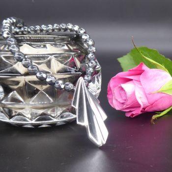 Art Deco pendant set on a hematite gemstone necklace