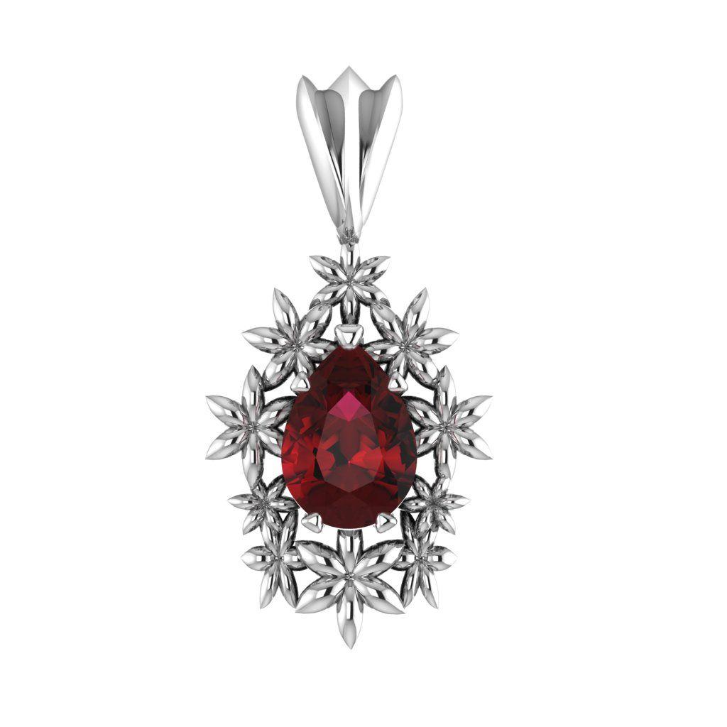 Fleur - Garnet Silver Pendant