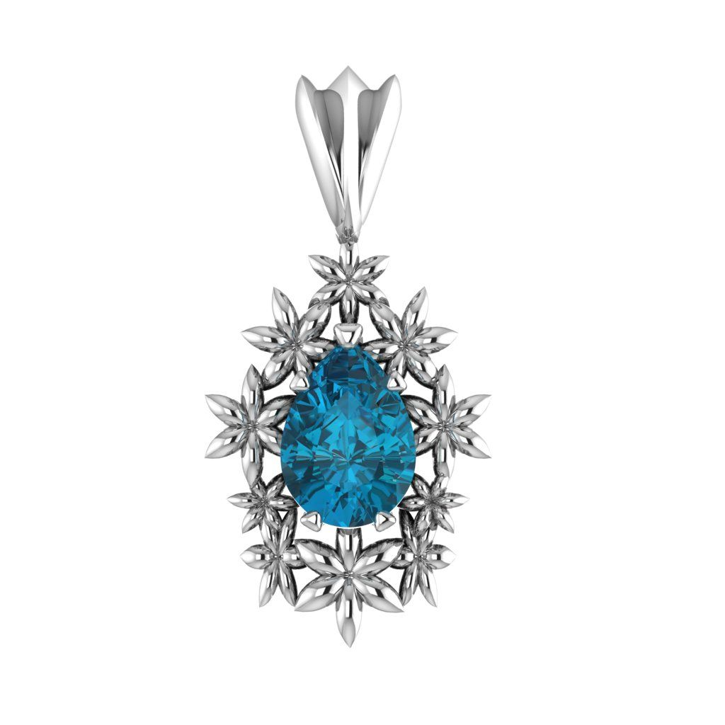 Fleur - London Blue Topaz Pendant