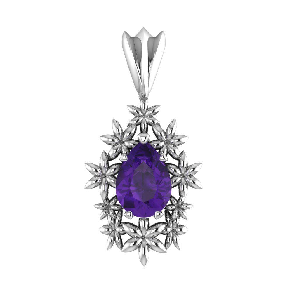 Fleur - Amethyst Silver Pendant