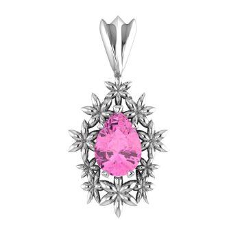 Fleur - Pink Tourmaline Silver Pendant