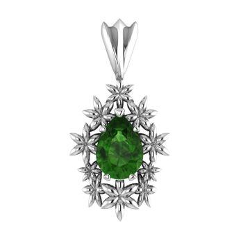 Fleur - Green Tourmaline Silver Pendant