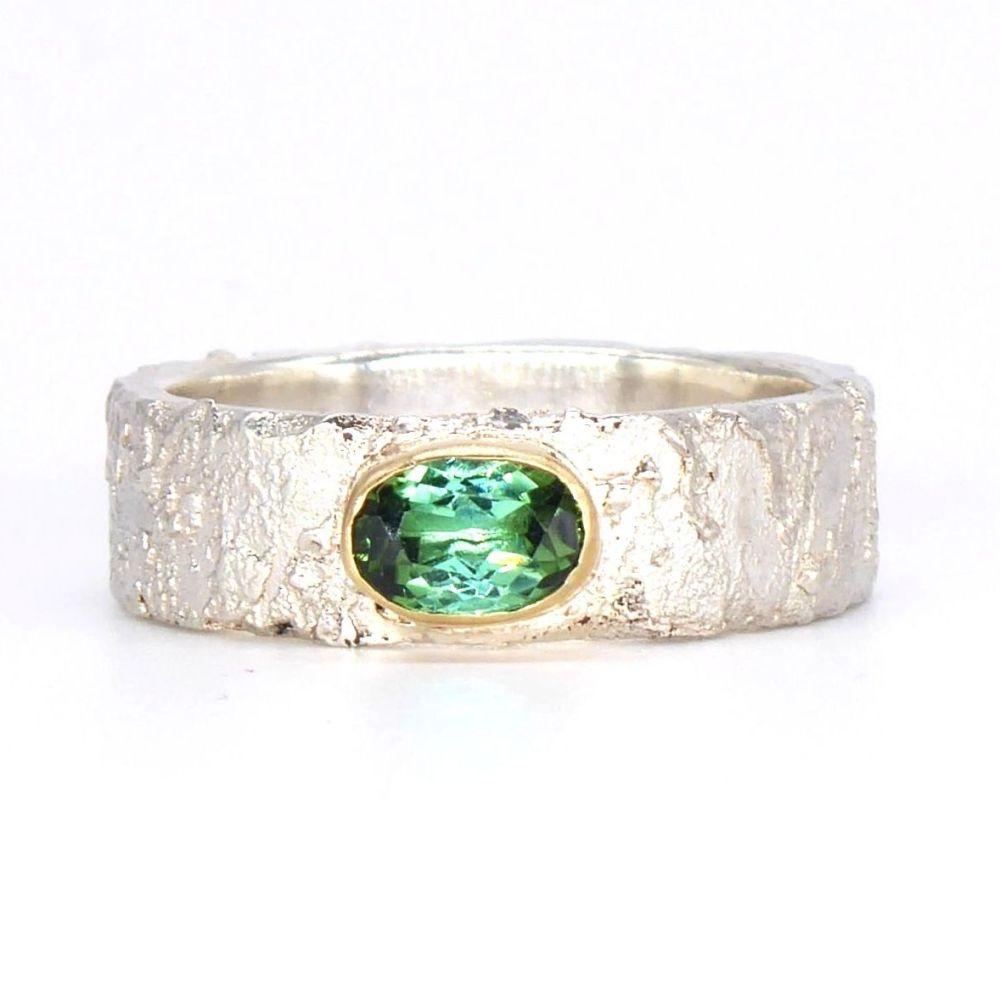 Green Tourmaline Silver Ring