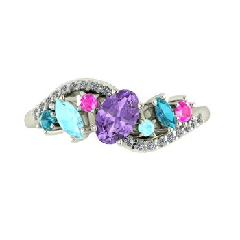 Atlantis Storm Violet Sapphire with Aquamarine , pink sapphire, zircon and diamonds - White Gold