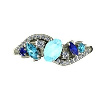 Atlantis Storm Aquamarine, Sapphire, Zircon & Diamonds - White Gold