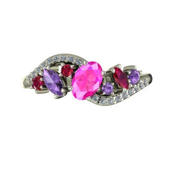 Atlantis Storm Pink Sapphire With Violet Sapphire, Rubies And Diamonds - White Gold