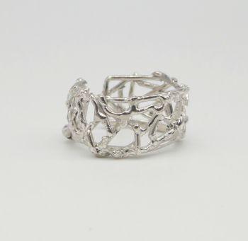 Silver Web Cuff Ring