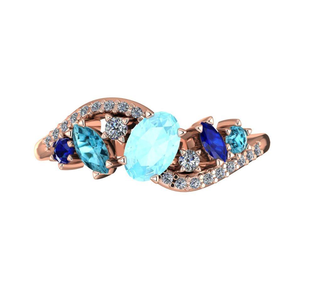 Aquamarine, Zircon, Blue Sapphire & Diamond