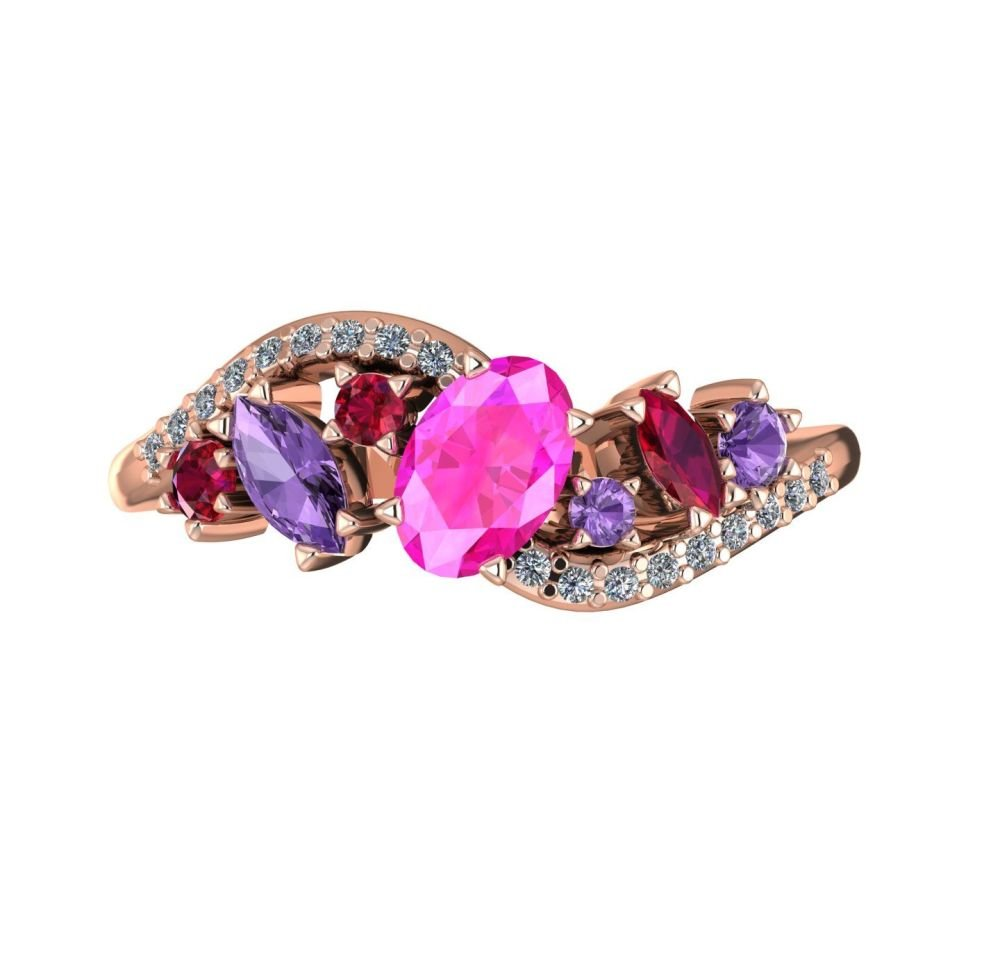 Pink Sapphire With Violet Sapphires, Rubies And Diamonds