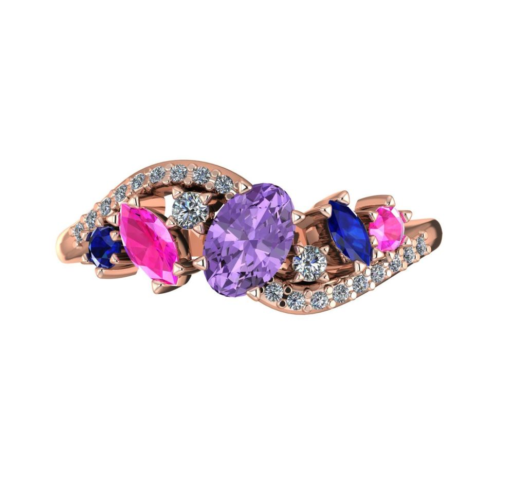 Violet, Pink & Blue Sapphires With Diamonds - Rose Gold