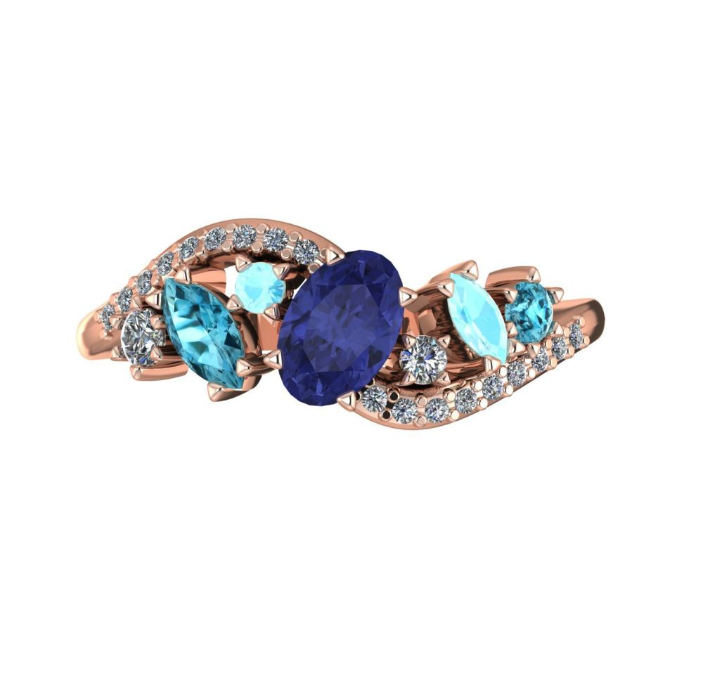 Tanzanite, Zircon, Aquamarine With Diamonds - Rose Gold