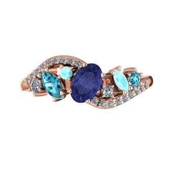 Atlantis Storm Tanzanite with Zircon , Aquamarine & Diamonds - Rose Gold